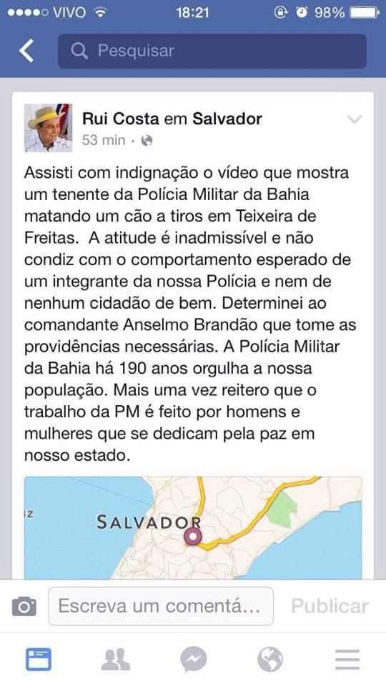 Declaracao de Rui cCosta contra o tenente PM Wilson Pedro dos Santos Junior