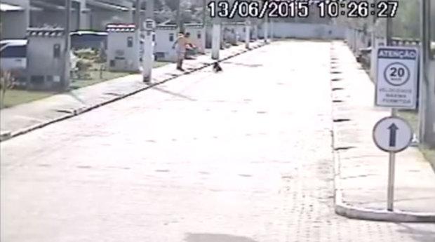 Momento que Wilson Pedro dos Santos Junior mata cacchoro a tiros