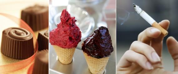 Chocolates, sorvetes e fumo picado